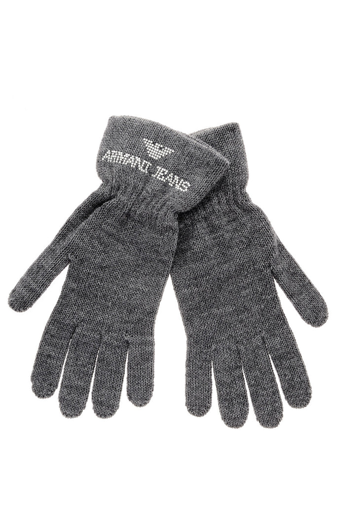 ARMANI JEANS CRYSTAL Grey Wool Women Gloves