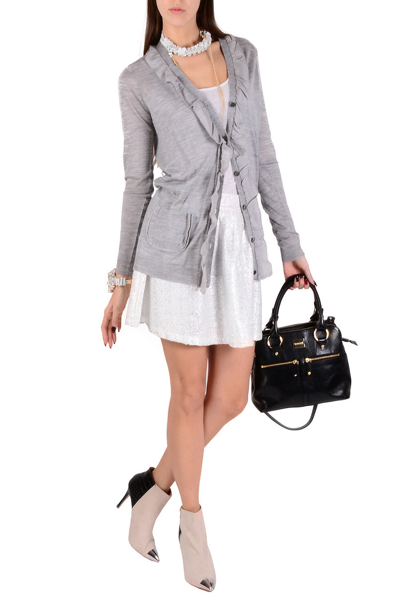 ARMANI JEANS IVA Grey Ruffled Jacket