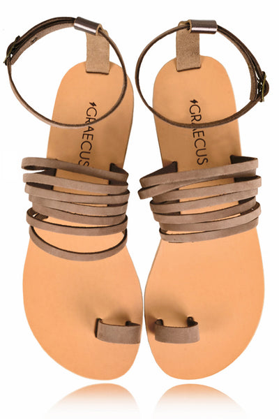 GRAECUS ASTRAEA Brown Suede Leather Sandals