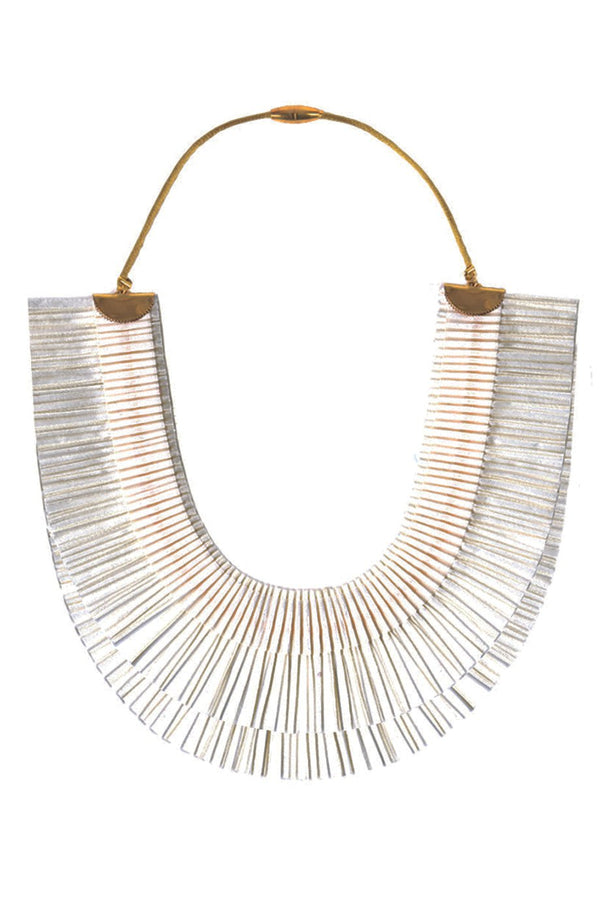 RA Double White Fabric Necklace
