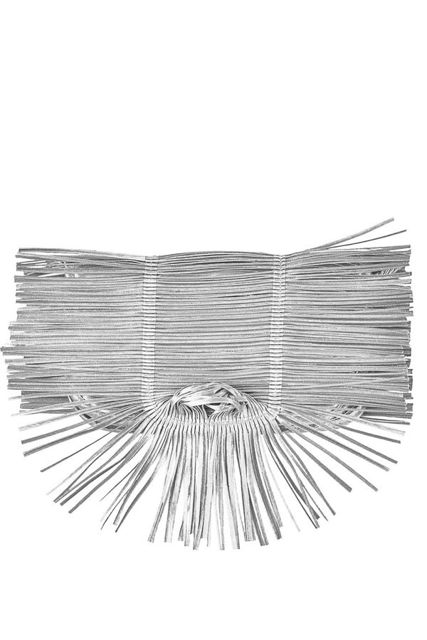 Clutch Me Silver Clutch with Fringes - Alexandra Tsoukala | Women Bags
