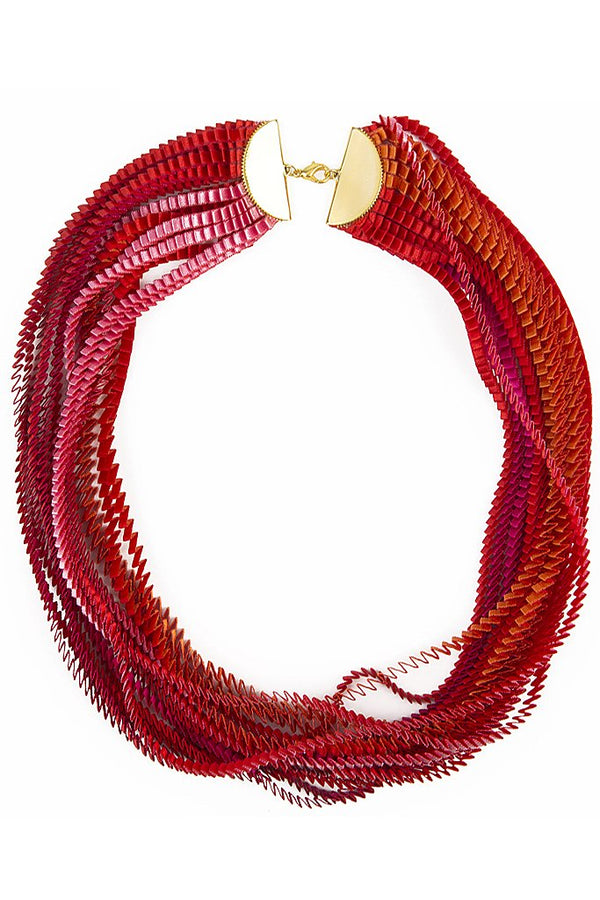 EOS Red Color Fabric Necklace