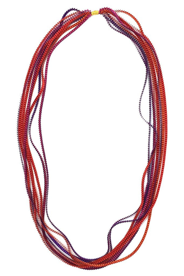 Essilp Red Multicolor Fabric Necklace