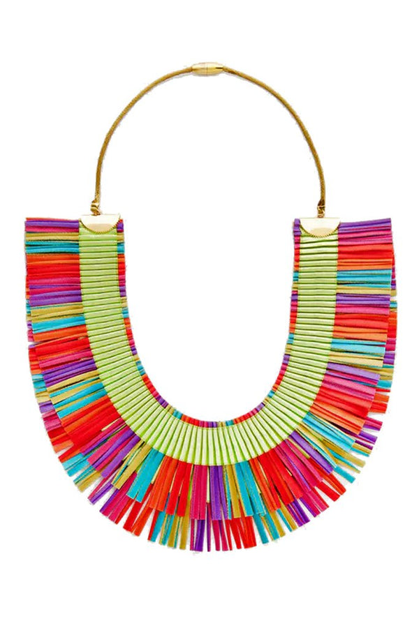 RA Double Multicolor Fabric Necklace