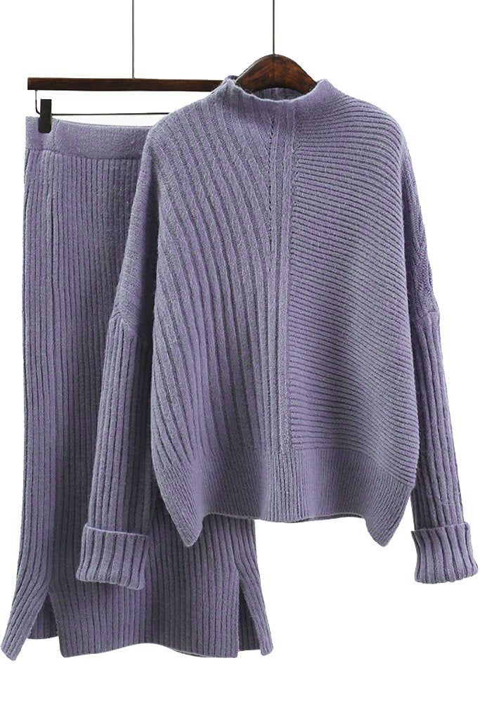 Alizee Purple Blue Knitted Sweater and Skirt Set