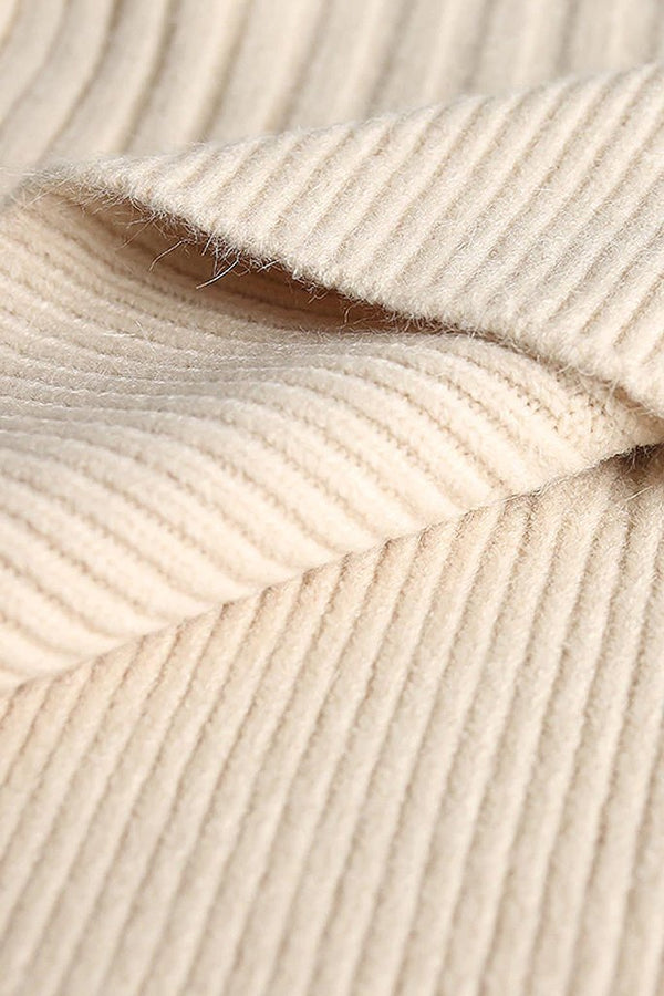 Ivory Cotton Sweater and Skirt Set | Knitwear Woman Clothing