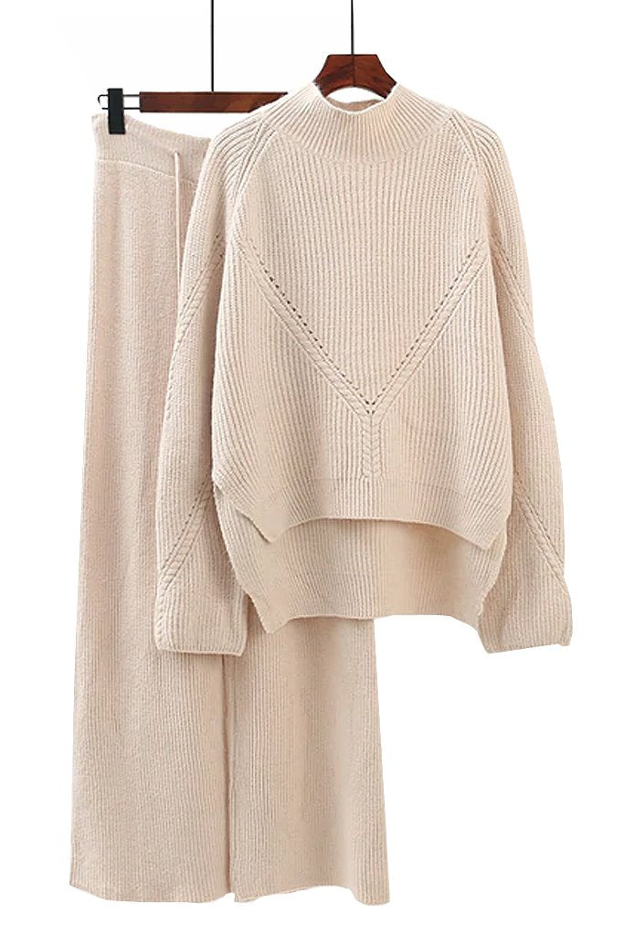 Ivory Cotton Sweater and Pants Set | Knitwear Woman Clothing