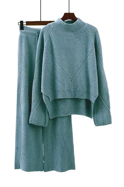Light Blue Cotton Sweater and Pants Set | Knitwear Woman Clothing