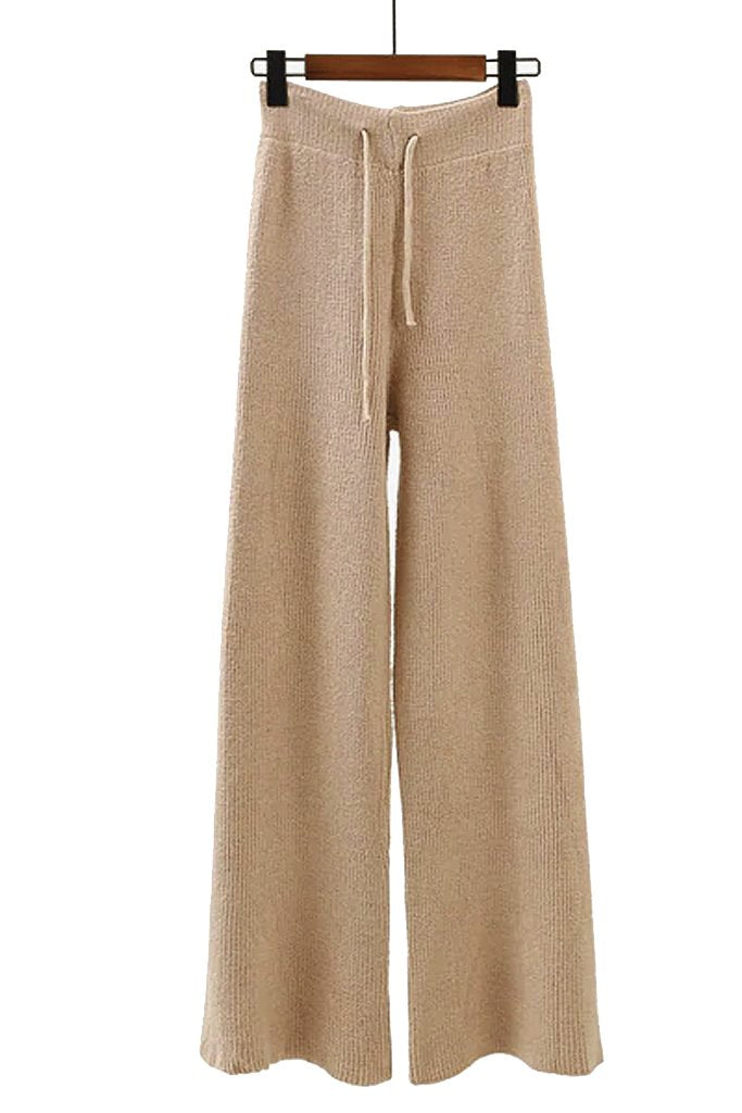 Beige Cotton Sweater and Pants Set | Knitwear Woman Clothing