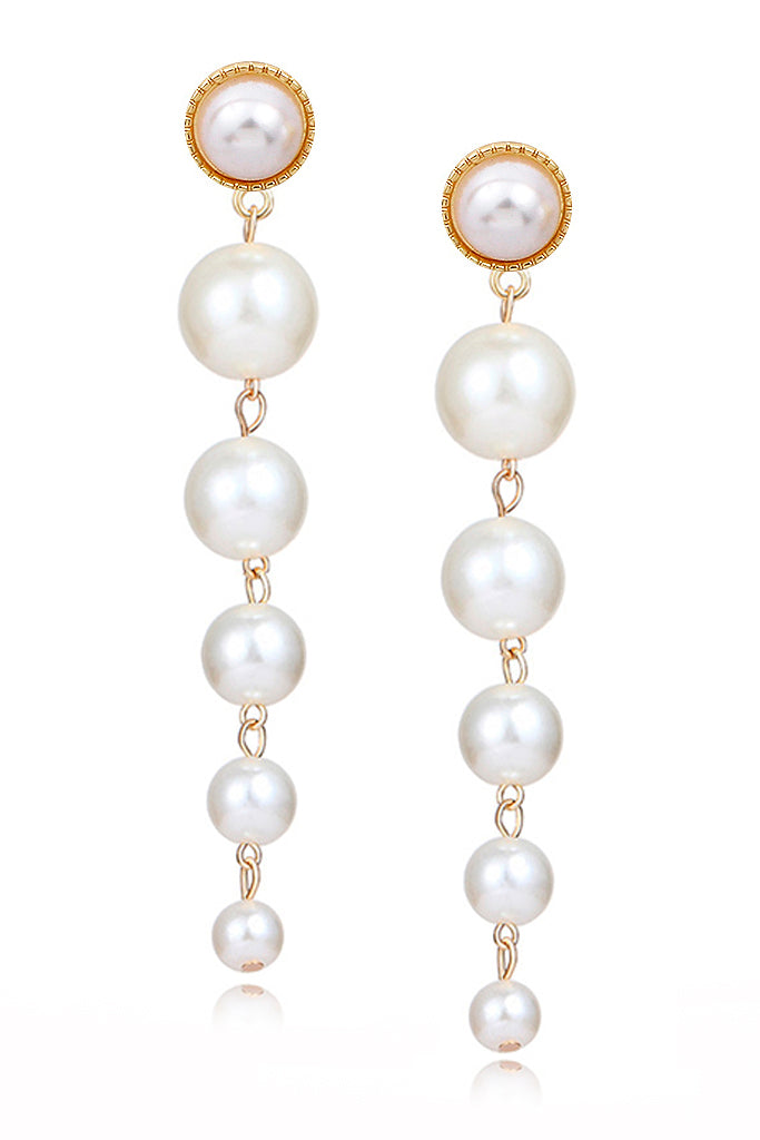 Kelley Pearl Long Dangle Clip On Earrings