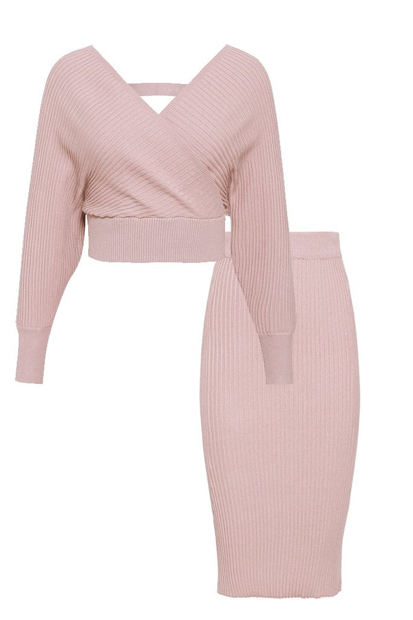 Pink Top and Skirt Knitted Set | Woman Clothing - Moncye