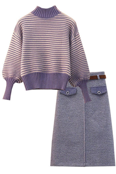 Purple Sweater and Skirt Set | Woman Clothing - Philip Lang