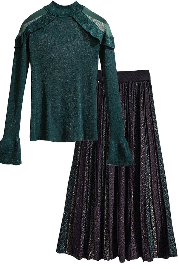 Petrol Metallic Blouse and Pleated Skirt Set | Woman Clothing Philip Lang