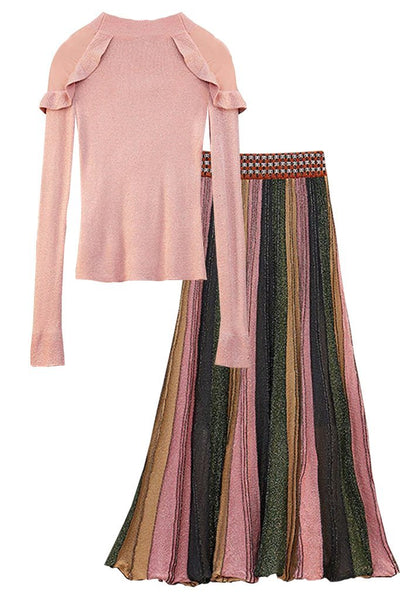 Pink Metallic Blouse and Pleated Skirt Set | Woman Clothing Philip Lang