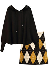 Black Batwing Sweater and Multicolor Skirt Set | Woman Clothing Philip Lang