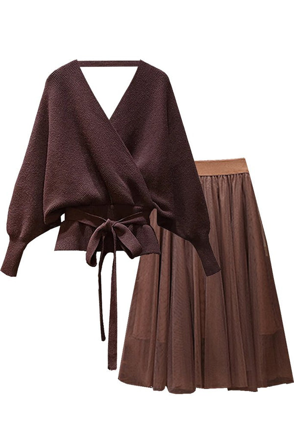 Brown Batwing Sweater Top and Mesh Skirt Set | Woman Clothing - Philip Lang