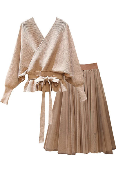 Beige/Ivory Batwing Sweater Top and Mesh Skirt Set | Woman Clothing - Philip Lang