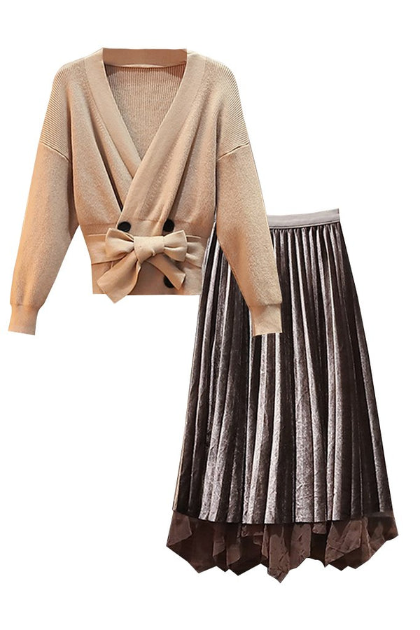 Beige Batwing Top and Gray Mesh Skirt Set | Woman Clothing - Philip Lang