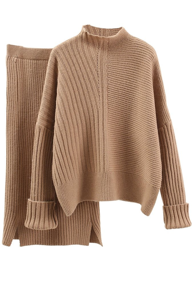Beige Knitted Sweater and Skirt Set | Woman Clothing Sets Knitwear