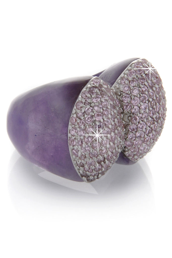BABETTE WASSERMAN NOUGAT Amethyst Plaid Ring