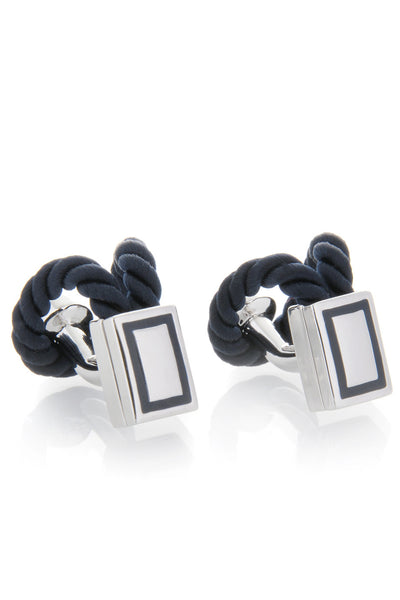 BABETTE WASSERMAN ROPE Wrap Navy Cufflinks