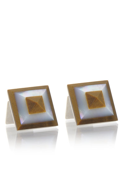 BABETTE WASSERMAN TIGER EYE Pyramid Cufflinks