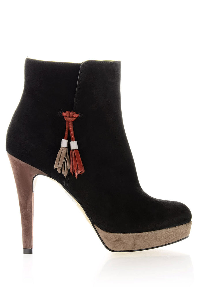 BARBARA BUCCI JULIANA Black Suede Ankle Boots