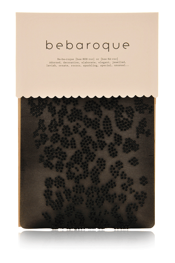 BEBAROQUE BEAR Black Sheer Embellished Tights