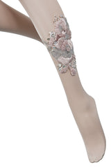 BEBAROQUE NUDE ROSA Embroidered Tights