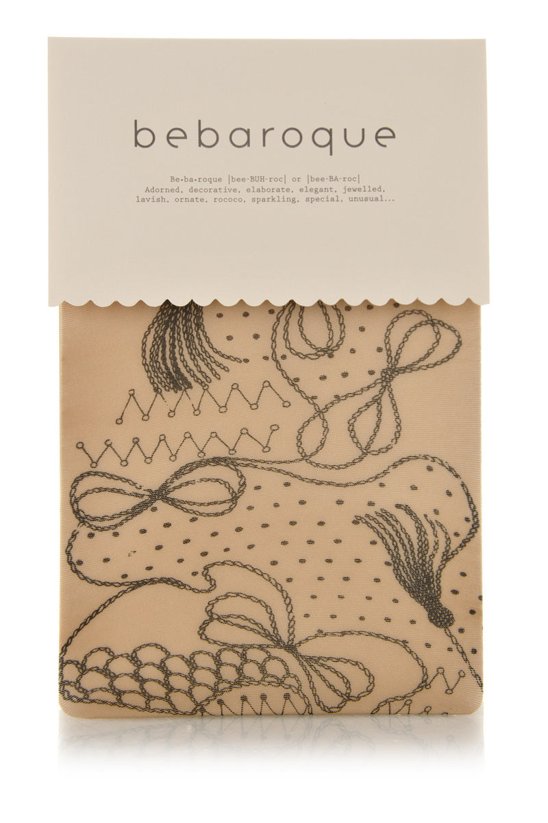 BEBAROQUE TAFFEY Printed Nude Black Tights
