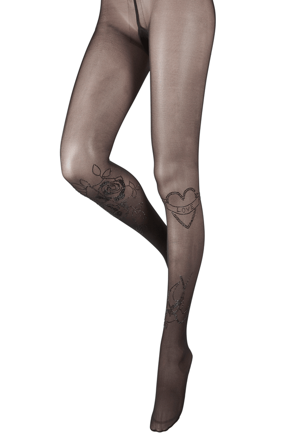 BEBAROQUE VALENTINA Black Heart Tights