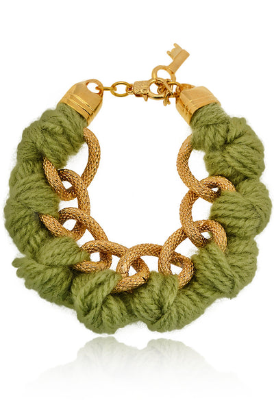 BEHIND THE ROPES LAURITA Pistachio Cotton Cords Bracelet