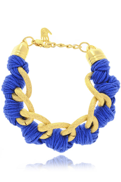 BEHIND THE ROPES LAURITA Royal Blue Cotton Cords Bracelet