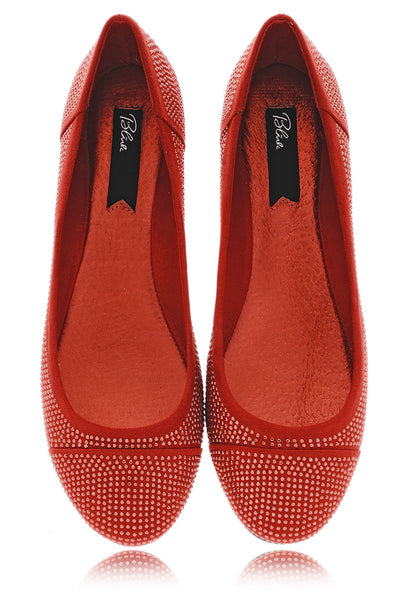AUGUSTA Red Studded Ballerinas