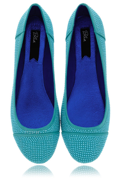 BLINK AUGUSTA Teal Studded Ballerinas