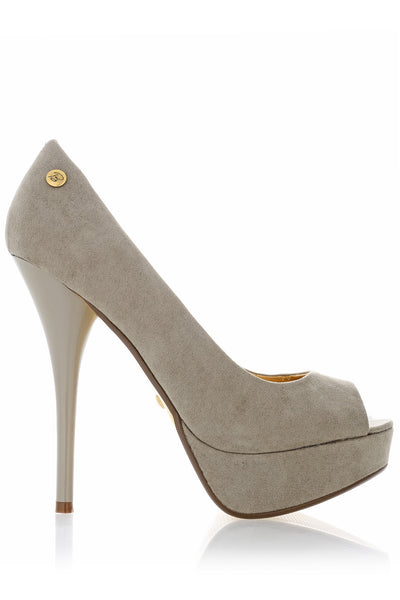 BLINK CLAIRE Taupe Suede Peep Toe