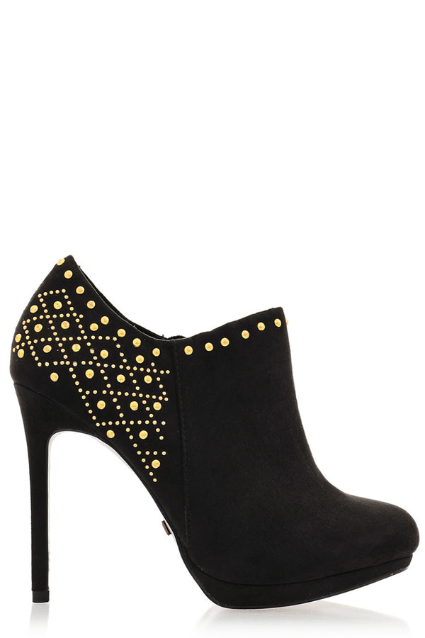 BLINK - EVEY Black Studded Suede Ankle Boots - Women Shoes