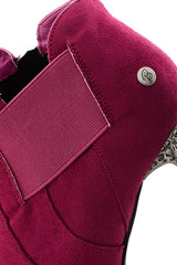BLINK LORE Fuchsia Studded Ankle Boots