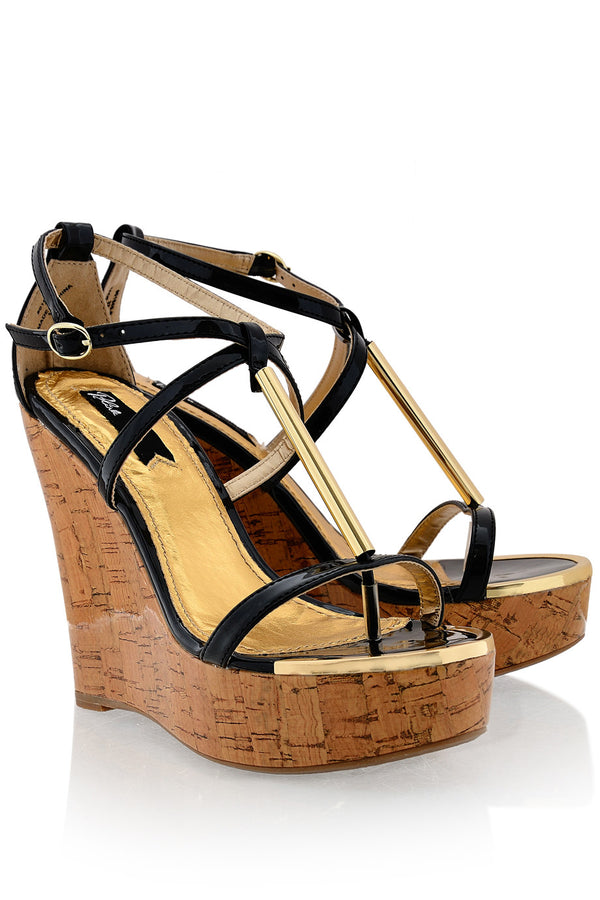 BLINK WINONA Black Patent Cork Wedges