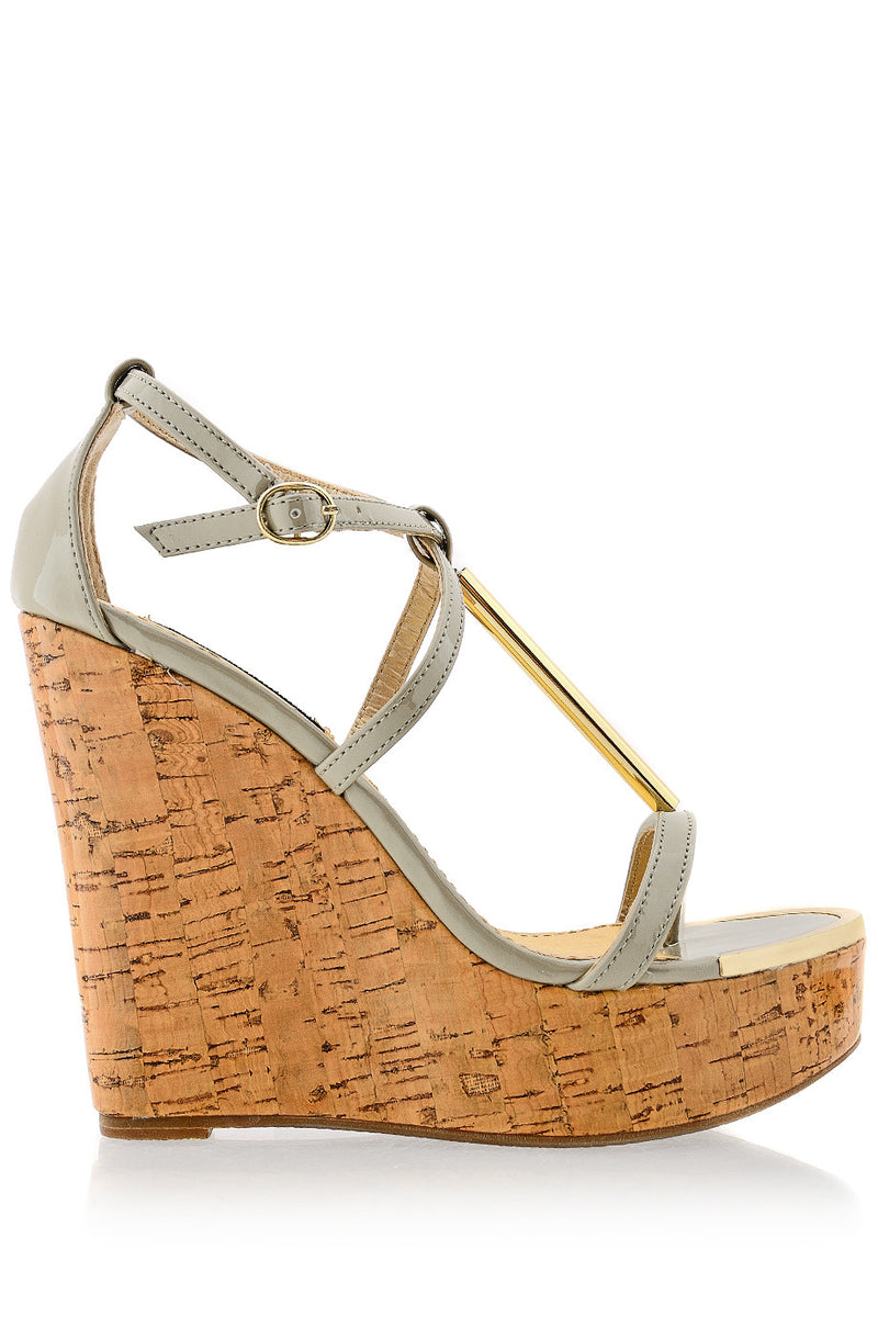 BLINK WINONA Taupe Patent Cork Wedges