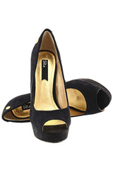 BLINK CLAIRE Black Suede Peep Toes