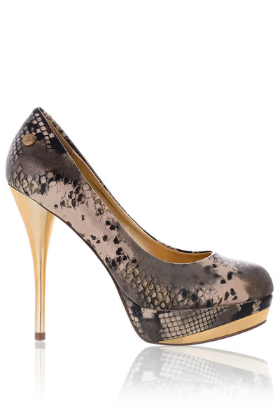 ELSIE Metallic Snakeskin Pumps