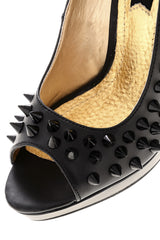 BLINK FREYA Black Studded Peep Toes