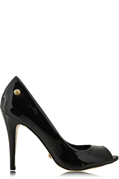 BLINK - LANE Black Patent Peep Toe Pumps - Women Shoes - Heels
