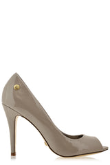 BLINK - LANE Taupe Patent Peep Toe Pumps - Women Shoes