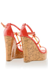 BLINK WINONA Coral Patent Cork Wedges