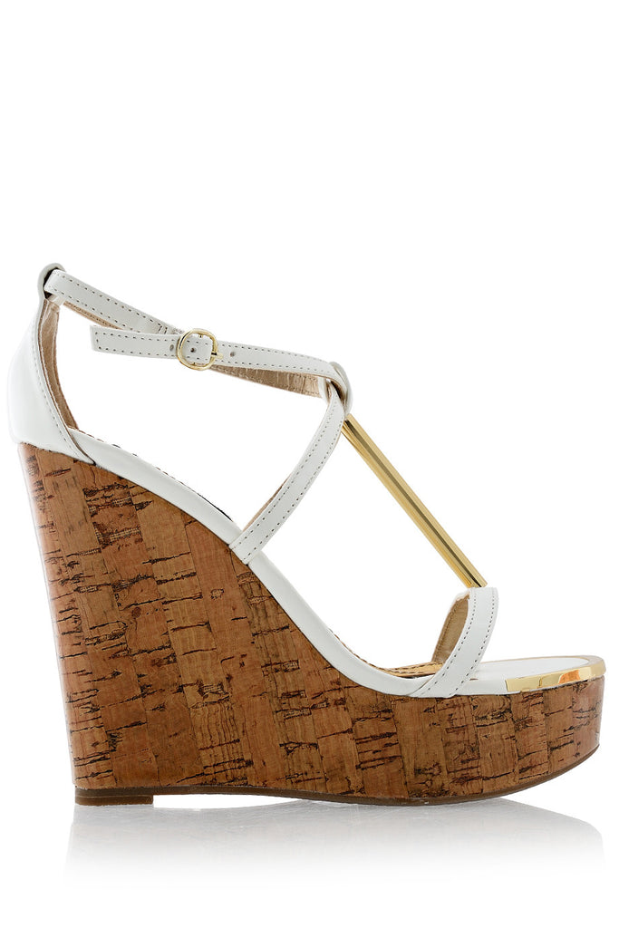 BLINK WINONA White Patent Cork Wedges