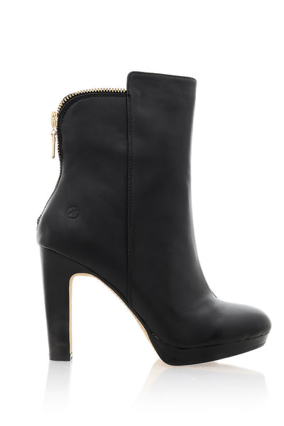 BRONX CORINNE Black Leather Heeled Ankle Boots