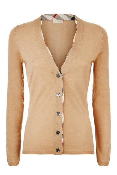 CHECK Beige Wool Knitted Cardigan