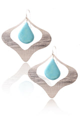 BY THE STONES PETAL Silver Turquoise Earrings